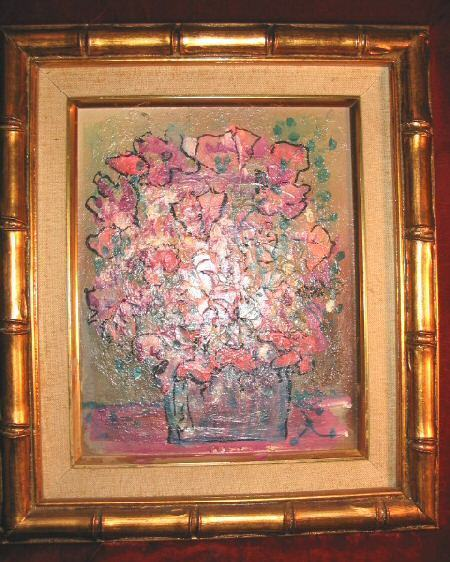 Original Floral Oil Painting Canvas Gold Bamboo Frame 14x12