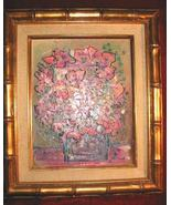 Original Floral Oil Painting Canvas Gold Bamboo Frame 14x12 - $180.00