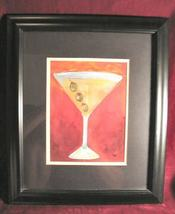 Martini Glass olives Art Print Black Framed Signed Chui - $39.99
