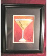 Martini Glass olives Art Print Black Framed Signed Chui - $39.99
