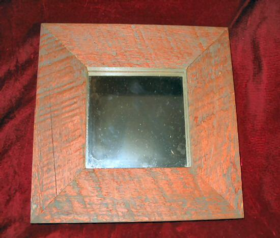 Vintage Miror Painted Wooden Framed Primitive Decorative 9x9