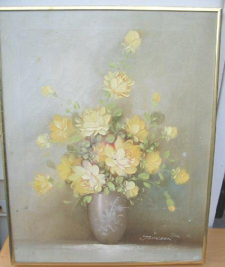 Artistic Interiors Original Oil Painting Flowers Signed John