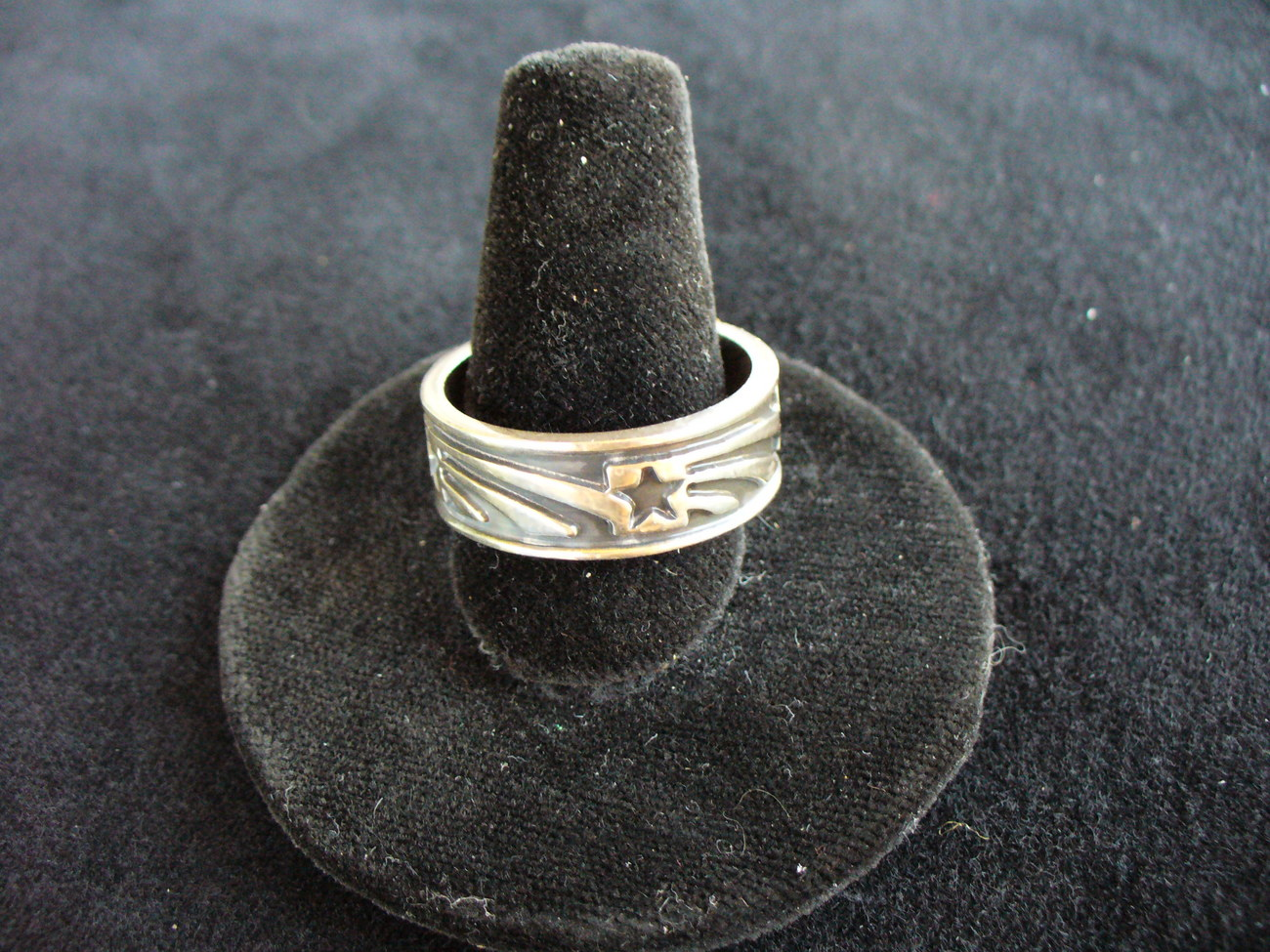 Sterling Silver Wide Band with Shooting Stars