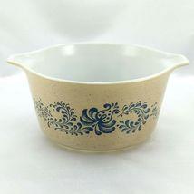 Pyrex 473 Homestead Blue Floral Speckled Vintage Baking Serving Casserole Dish image 3
