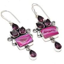 """Pink Geode Druzy, Amethyst Ethnic Jewelry Earring 2.6"""" RE847 - $9.99"""