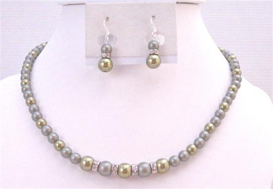 Dainty Wedding Swarovski Powder Green Combo w/ Light Green Jewelry Set