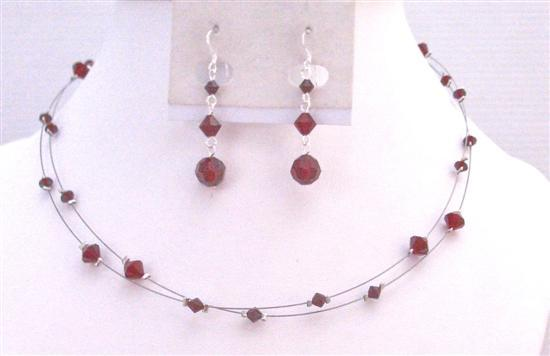 Prom Jewelry in Siam Red Crystals Jewelry Double Stranded Necklace Set