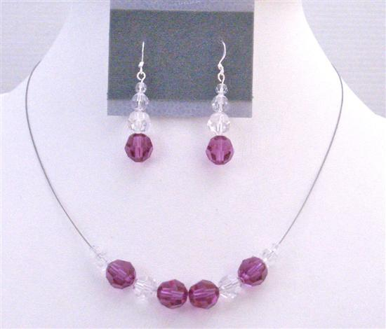 Flower Girl Jewelry Of Swarovski Clear & Fuchsia Crystals Round Crysta