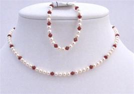 Flower Girl Swarovski Ivory Pearls Siam Red Crystals Wedding Jewelry - $32.90