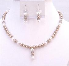 Wedding Bridal Bridesmaid Bronze Pearls White Pearls Jewelry Set - $51.73