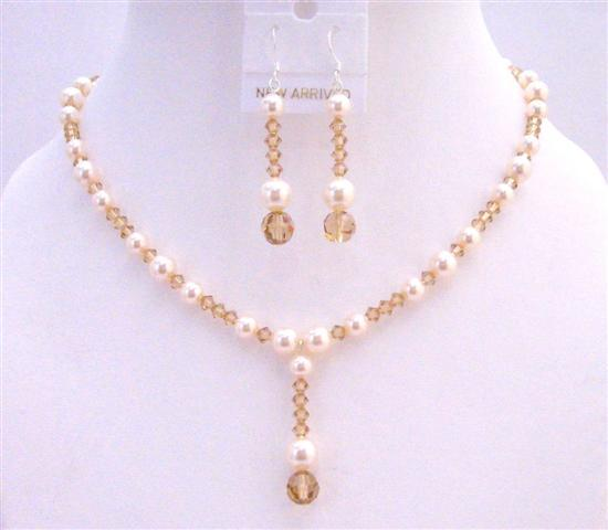Lite Colorado Swarovski Crystals Ivory Pearl Drop Down Wedding Jewelry
