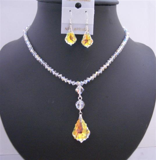 AB Swarovski Crystal AB Baroque Pendant Irridescent Drop Down Necklace