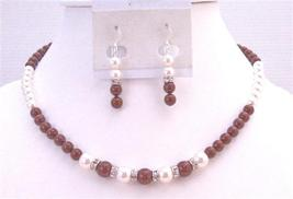 Customize Affordable Jewelry Cognac Dress Bordeaux Wine White Pearls - $42.63