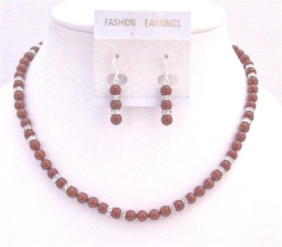 Red Pearls Necklace Match Cognac Dress Wine Pearls Jewelry Wedding Set