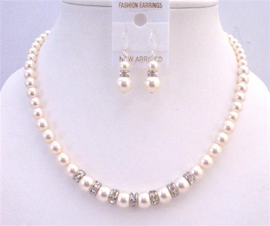 Rondells Ivory 8mm Pearls Necklace Wedding Custom Handcrafted Jewelry