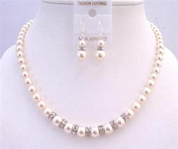 Rondells Ivory 8mm Pearls Necklace Wedding Custom Handcrafted Jewelry - $54.33
