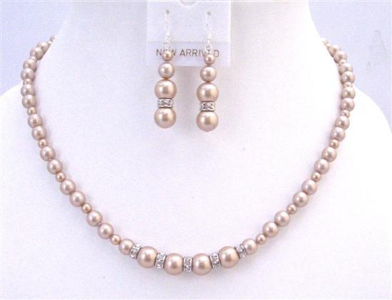 Champagane Pearls Sparkling Rondells Spacer Jewelry For Gift Wedding