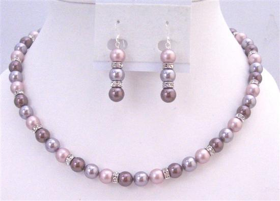 Lavender Burgundy Powder Rose TriColor Swarovski Pearls Necklace Set