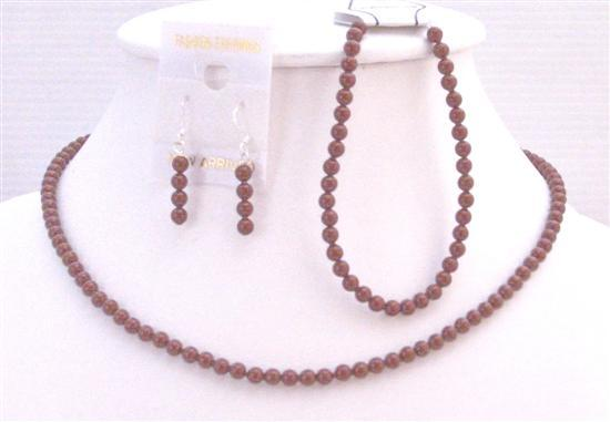 Red Pearls Jewelry Romantic Wine Color Bordeaux Bracelet Swarovski Set