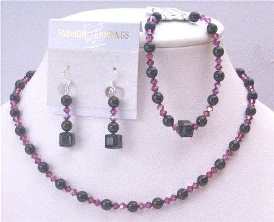 Flower Girl Prom Bridal Bridesmaid Swarovski Mystic Pearls Jewelry Set
