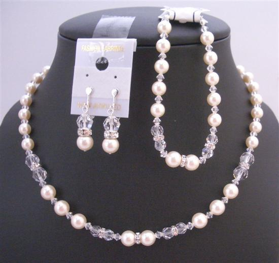 Ivory Crystals Wedding Bridal Jewelry Pearls Clear Rondells Necklace