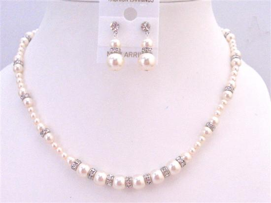 Bridal Custom Jewelry Swarovski Ivory Pearls Silver Diamond Spacer