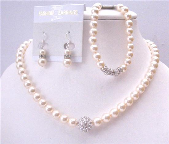 Diamond Ball Embedd Tiny Crust Ivory Pearls Necklace Earrings Bracelet
