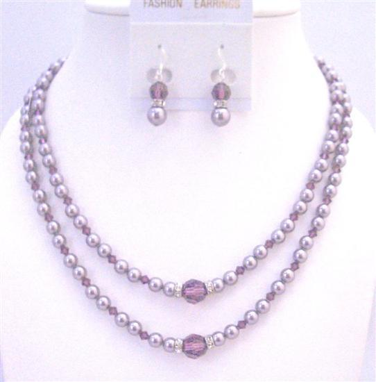 Lavender Pearls Swarovski Crystals Bridal Jewelry Set Double Stranded