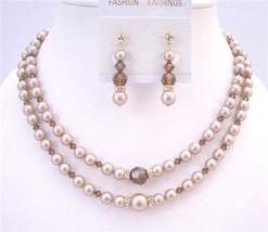 Golden Rondells Swarovski Champagne Pearl Double Stranded Necklace Set - $77.08