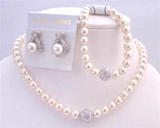 Custom Elegant Ivory Pearls 8mm Handmade Bridal Jewelry Bracelet Set