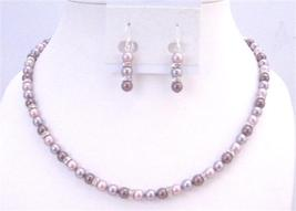 TriColor Swarovski Lavender Burgundy Powder Rose Rondells Jewelry Set - $57.58
