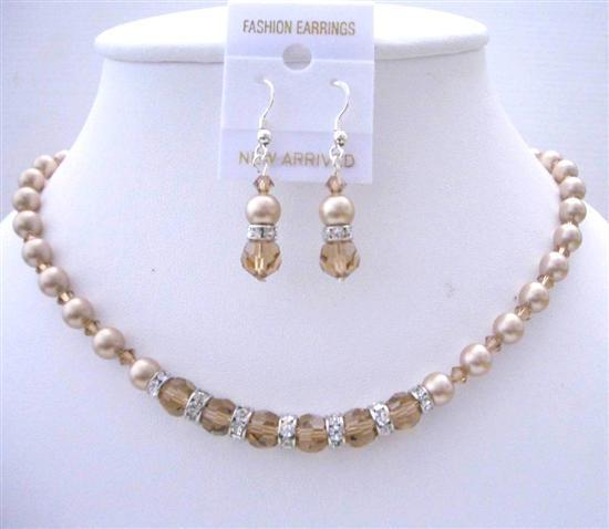 Smoked Topaz Crystals Swarovski Champagne Pearl Bridesmaid Jewelry Set