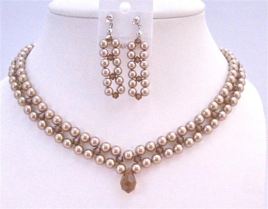 Three Stranded Pearls Smoked Topaz Crystals Bridal Bridemaide Necklace