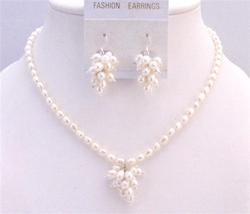 Freshwater Pearls Rice Shaped Jewelry Bunch Of Grapes Pearls Earrings - $24.43