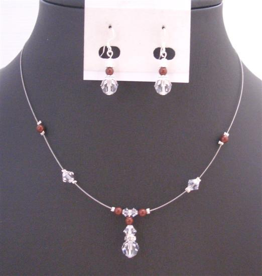Wedding Jewelry Swarovski Clear Crystals Bordeaux Wine Pearls Necklace