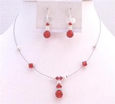 Bridesmaid Swarovski Lite Siam Red Crystals White Pearls Necklace Set - $23.78