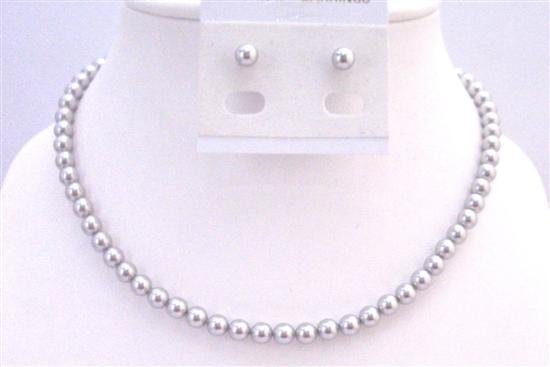 Lite Grey Pearls Necklace Set Stud Pearls Earrings 6mm Pearls Jewelry