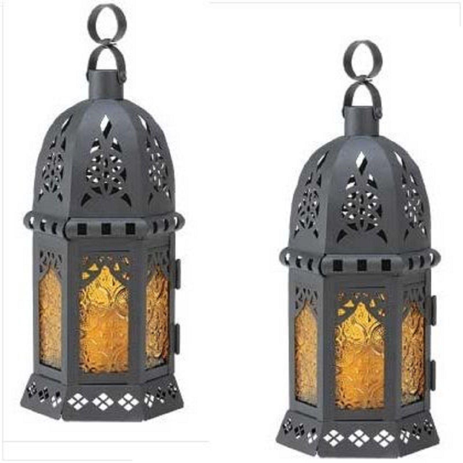 10 Yellow Black Lantern Moroccan Style Wedding Centerpieces