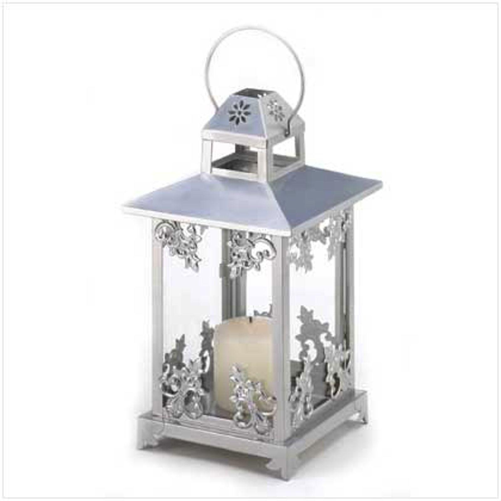 """5 Silver Candle Lantern Table Decor Wedding Centerpieces 15"""" Tall"""
