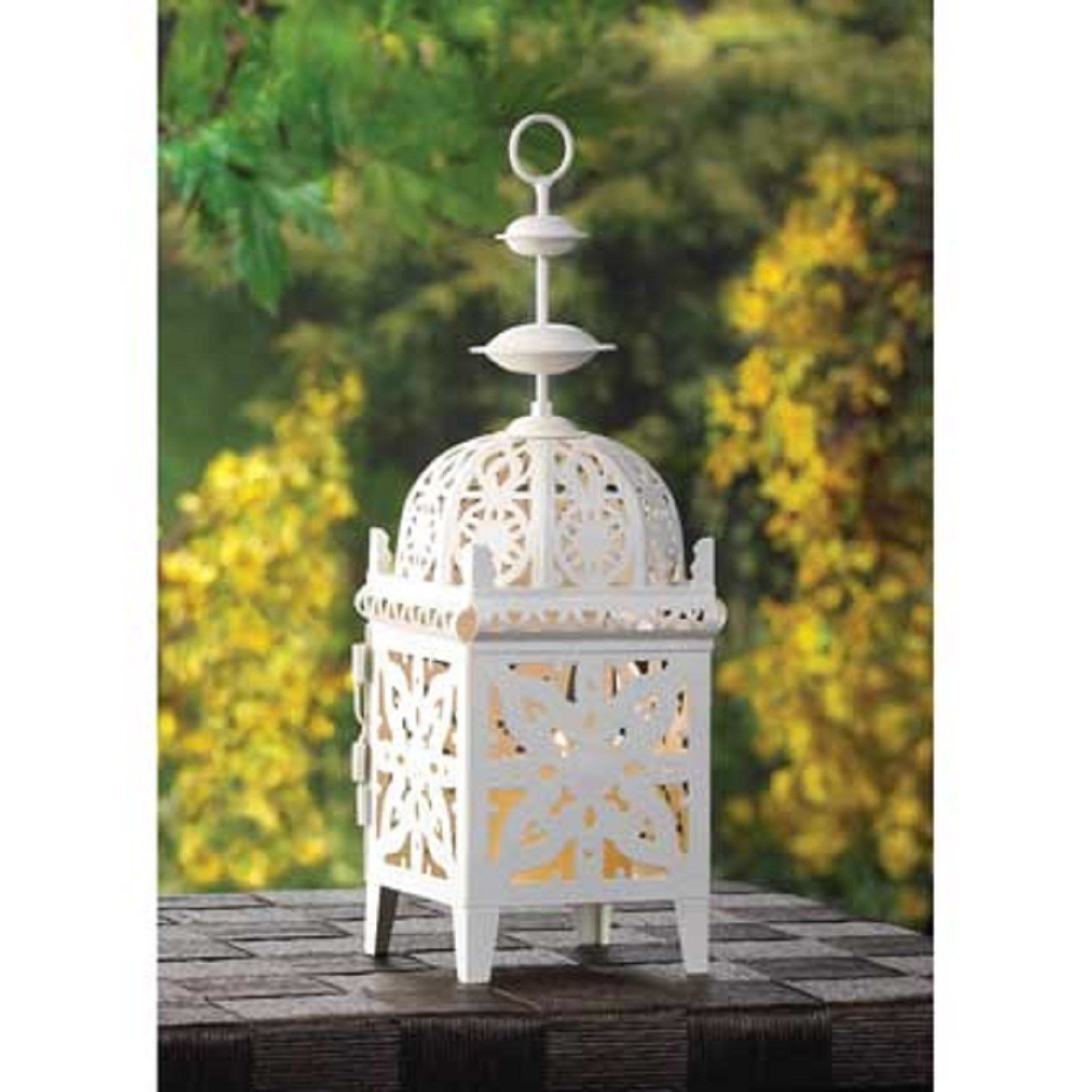 10 Creamy White Scrollwork Candle Lantern Wedding Centerpieces