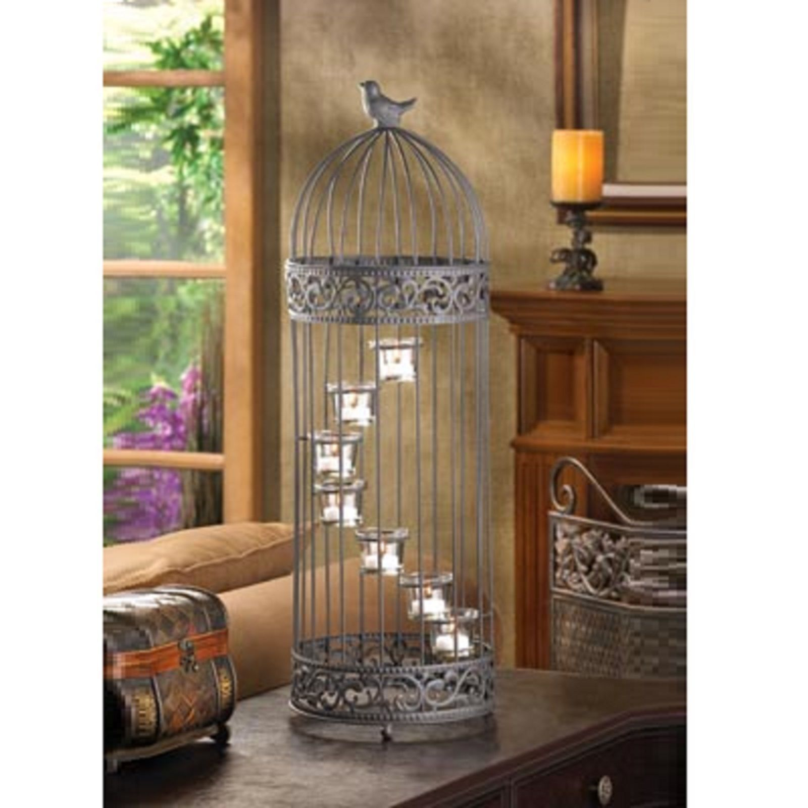 5 BLACK CANDLE Lantern Birdcage Wedding CENTERPIECES image 1