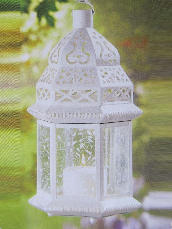 "4 Wedding LARGE White MOROCCAN Candle LANTERN CENTERPIECES 15"" TALL"