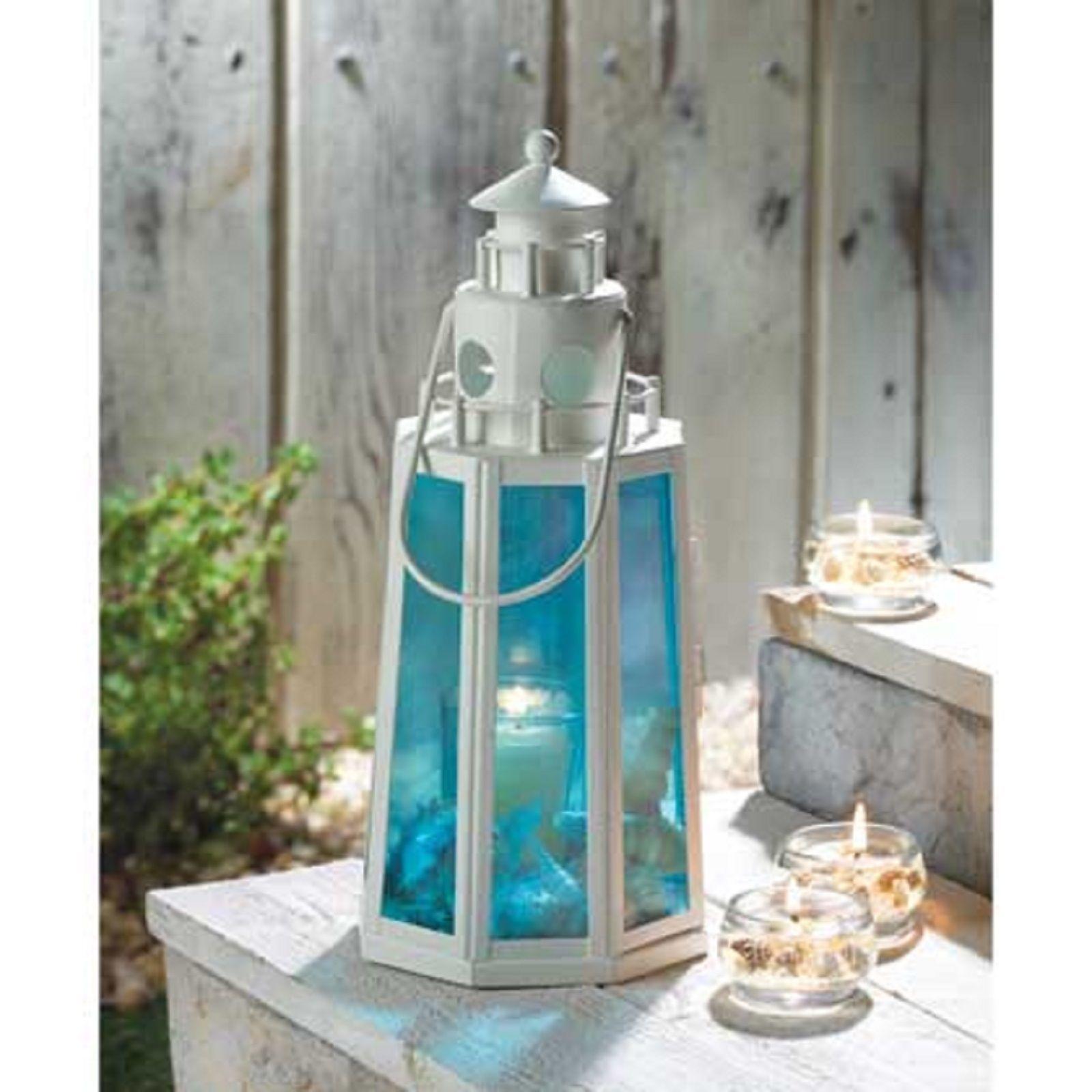 10 White BLUE Candle LANTERN Wedding CENTERPIECES