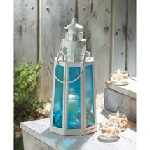 10 White BLUE Candle LANTERN Wedding CENTERPIECES - $138.95