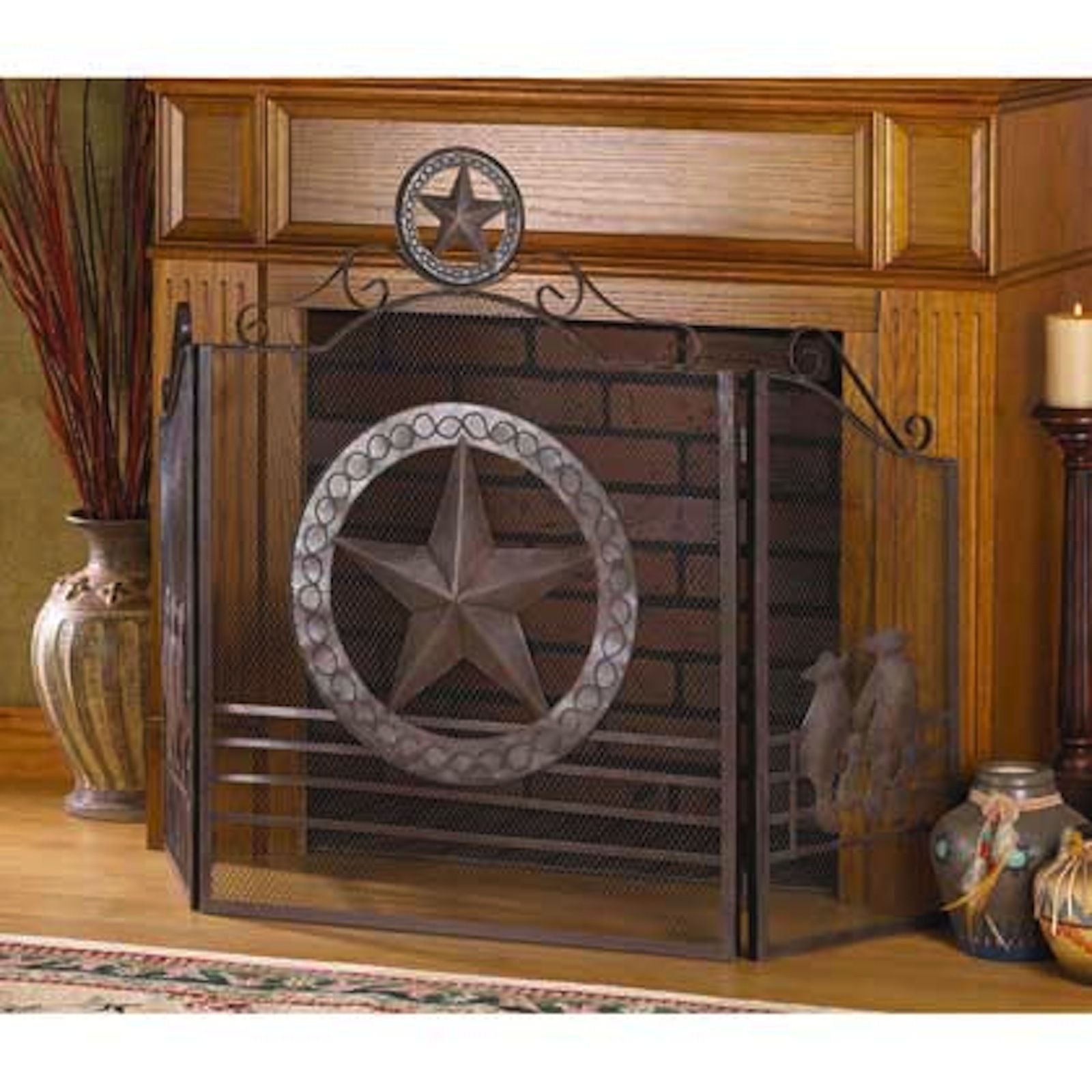 Texas Style Fireplace Screen Fire Place Divider - New