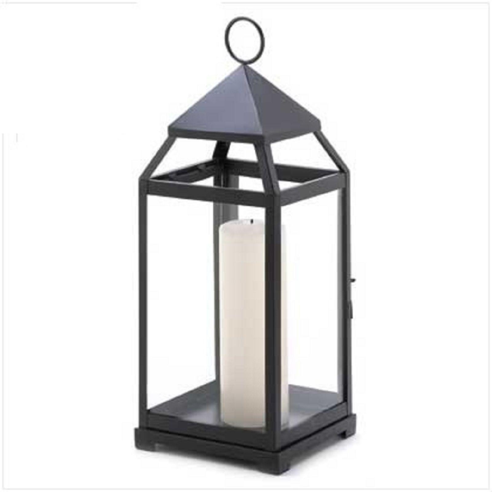 "Large Black Candle Lantern Candleholder Candle Holder Centerpiece 17 1/2"" Tall"