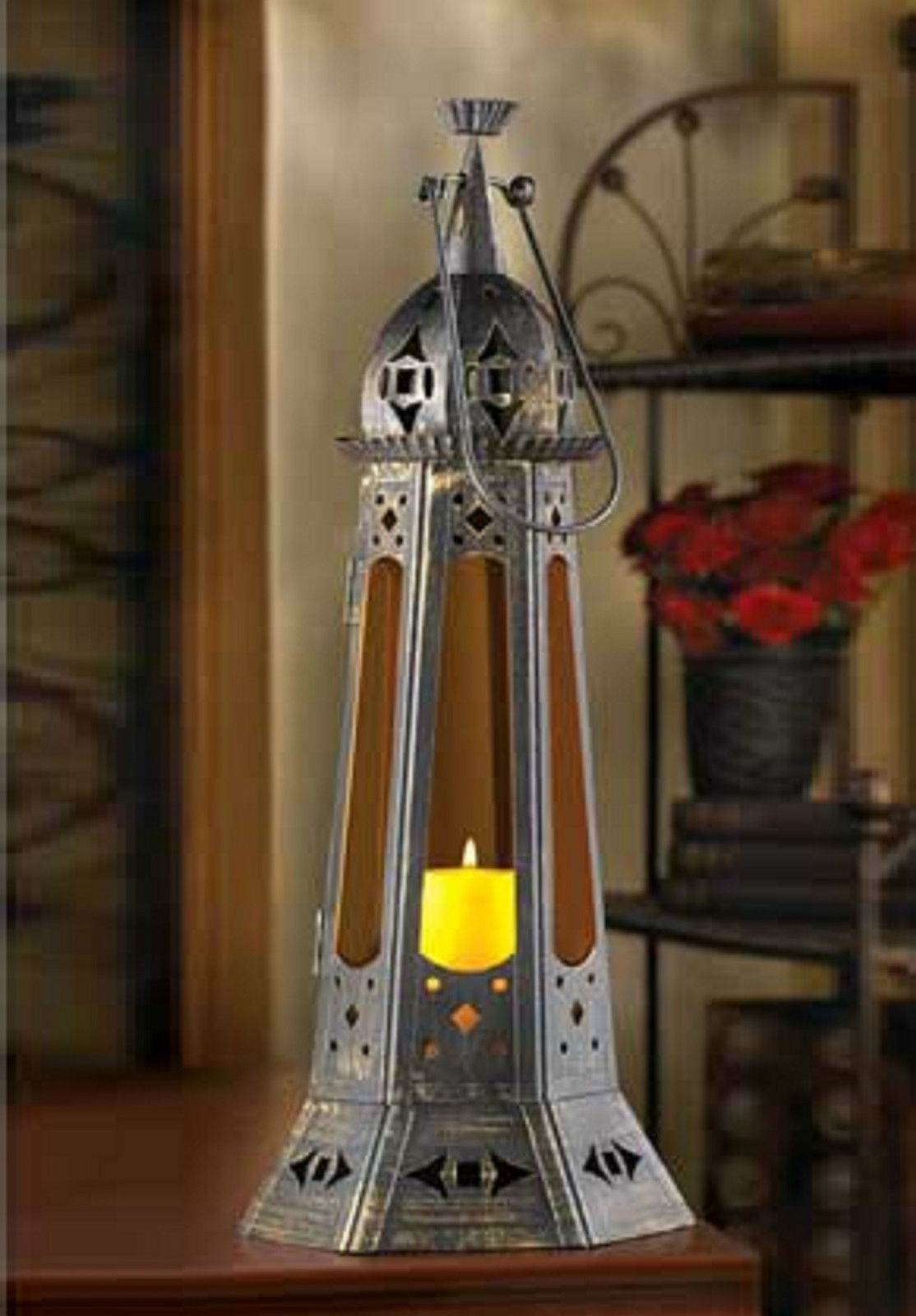 """4 AMBER MOROCCAN TOWER LANTERN WEDDING CENTERPIECES 22"""" TALL image 2"""