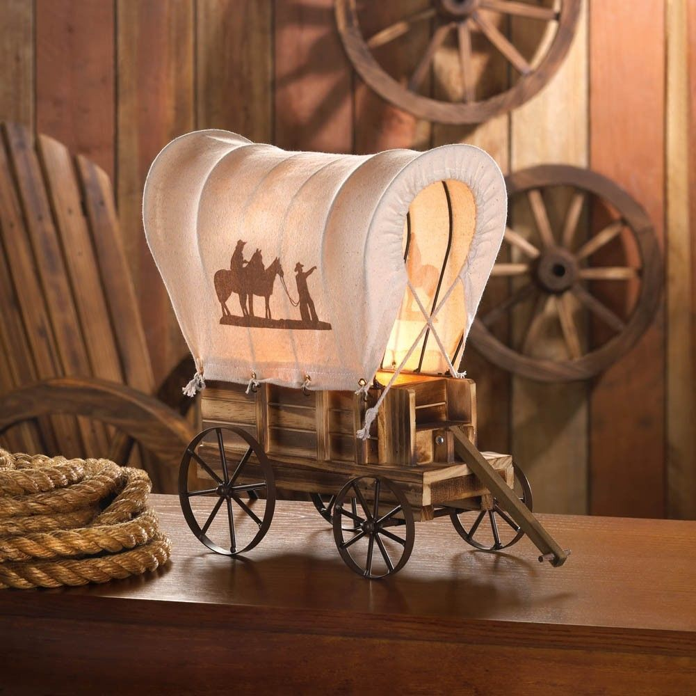 Western Cowboy Wagon Table Lamp image 2