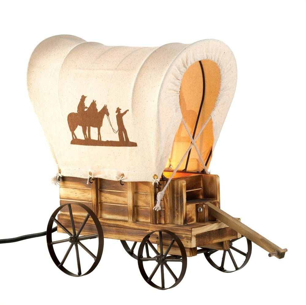 Western Cowboy Wagon Table Lamp