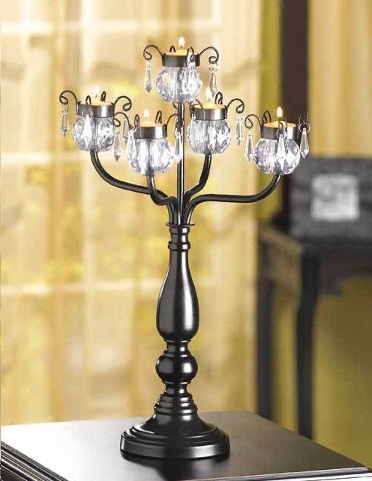 "6 Crystal Jeweled Black Candelara Wedding Centerpieces 17"" High"